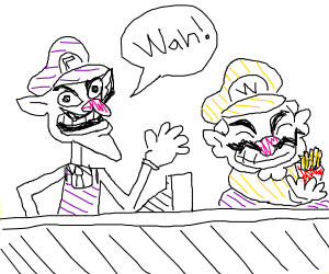 wario and waluigi work at a reasturaunt