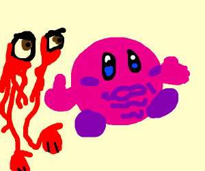 Kirby being chased by a pair of eyes