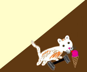 Cool buff calico cat with ice cream