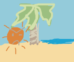 angry sun hides behind palm tree