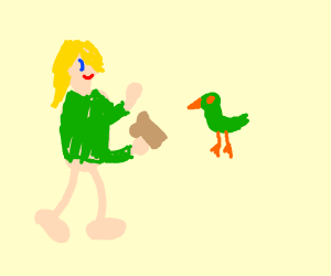 human feeding green bird
