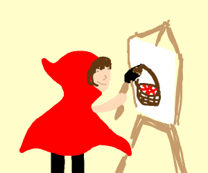 Little red riding hood painting a basket