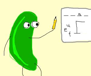 A pickle playing hangman