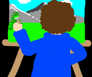 bob ross painting a happy lil tree & mountain
