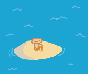 Man stranded on an island