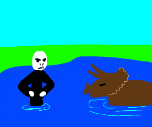 Voldemort is angry at triceratops in water