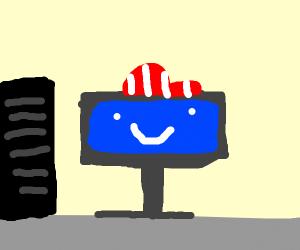Monitor with baseball cap