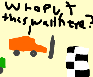 Orange car tries to win race but wall blocks