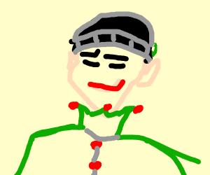 Smirking christmas elf with a beanie