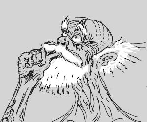 White-bearded elderly fellow gazes upwards