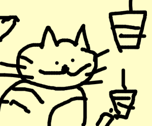Cat gets two snicks drinks to go