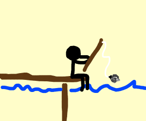 fishing up a rock