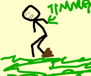 timmy takes a poop on the grass