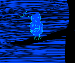 blue bird owl thing, darker blue background