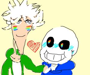komaeda and sans at a pride parade