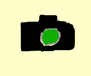 Black camera with green lens