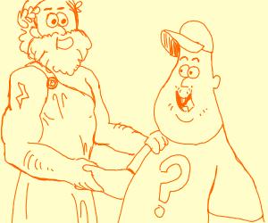 Soos (Gravity Falls) meets Zeus