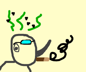 Smoking smelly rhino w sunglasses