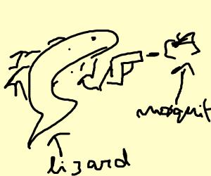 Lizard firing Mosquito
