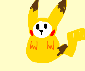 Bunny in a pikachu costume