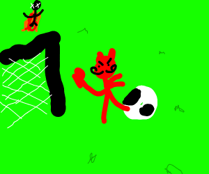 satan plays football