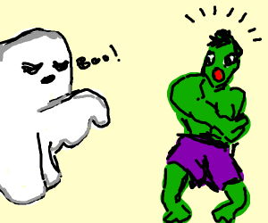 a ghost scares the hulk