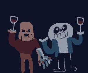 Thanos & Sans Undertale drinkin wine together