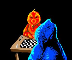 Blue chikkin vs red chikkin playing chess