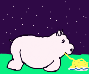 pig eating spaghet