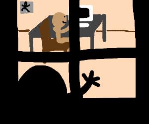 watching neighbour through window