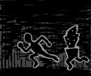 Shadow man and shadow plant running