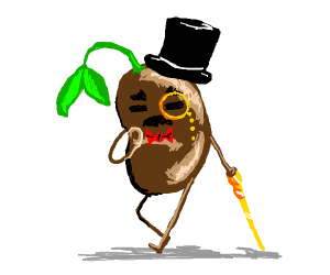 Sprouting bean is dressed all fancy.