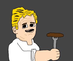 Gordon Ramsay with a sosig