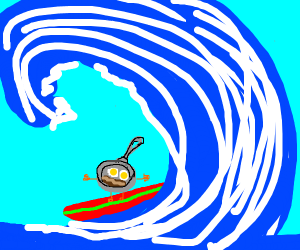 Frying pan riding sick waves dude