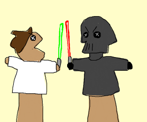 a terrible remake of star wars by puppets