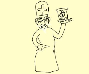 Priest eating Honey