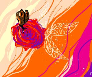 Butterfley on a flying flower