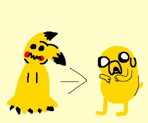 mimikyu is evolving into Jake the dog