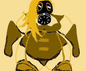 Monstrous woman in gas mask & swimsuit