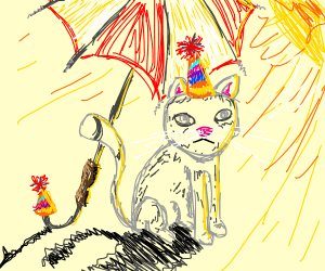 a cat and a umbrella wearing b-day hats