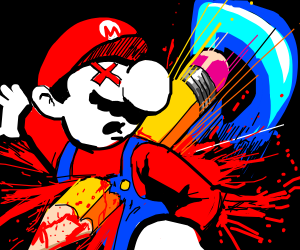Drawception's pencil ends Mario's life.