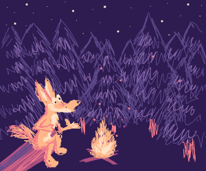 Old Coyote Telling Campfire Stories