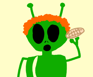 A green red headed alien eating melon bread.