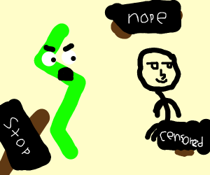 green zigzag angry at man pooping everywhere