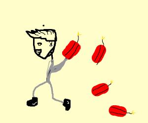 A man in grey & sade face holding explosives