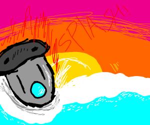 Rocket ship sinking in the ocean