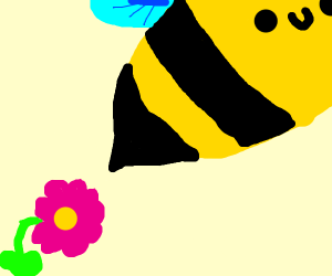 A bee stabs a flower