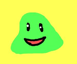 cute green blob looking happy