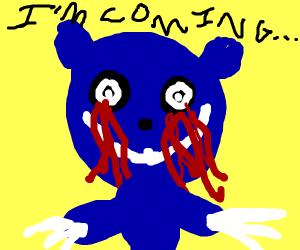 scary blue teddy bear