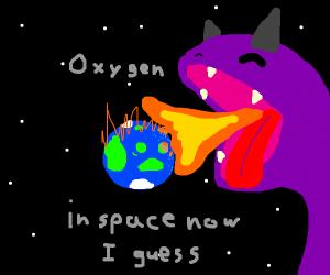 Dragon breathing fire on Eart